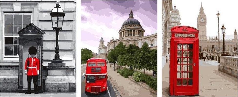 Картина по номерам «Лондон»Paintboy (Premium)<br><br><br>Артикул: PX5178<br>Основа: Холст<br>Сложность: очень сложные<br>Размер: 3 шт. 40x50 см<br>Количество цветов: 37<br>Техника рисования: Без смешивания красок
