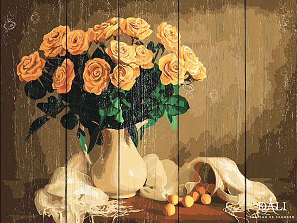 Картина по номерам по дереву Dali «Желтые розы»Картины по номерам по дереву Dali<br><br><br>Артикул: WS032<br>Основа: Деревянное панно<br>Сложность: очень сложные<br>Размер: 40x50 см<br>Количество цветов: 24