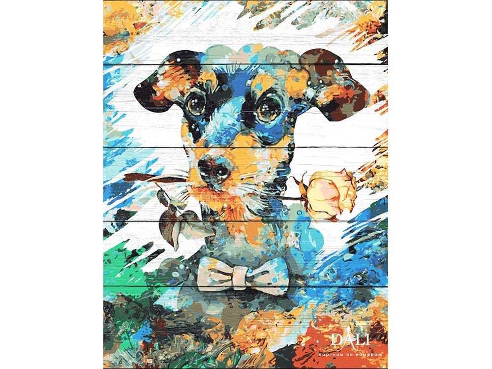 Картина по номерам по дереву Dali «Яркий пес»Картины по номерам по дереву<br><br><br>Артикул: WS034<br>Основа: Деревянное панно<br>Сложность: очень сложные<br>Размер: 40x50 см<br>Количество цветов: 24