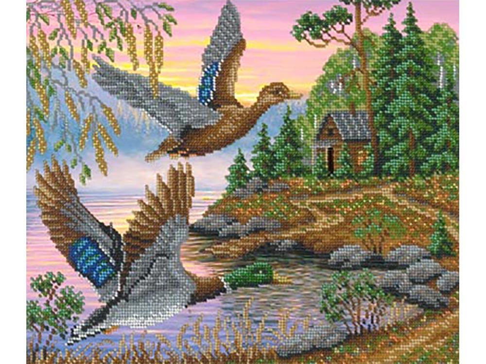 Вышивка бисером птички в лесу 65