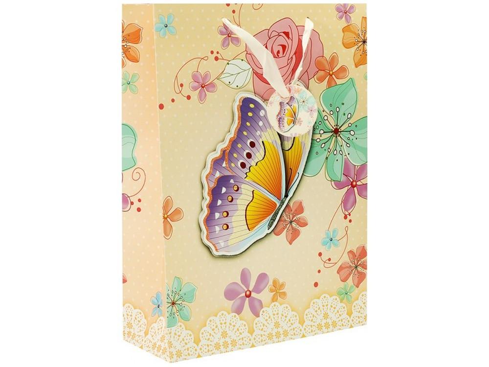 Подарочный пакет «Бабочка в цветах»Подарочные пакеты<br>Оригинальные подарочные пакеты станут прекрасным дополнением для вашего подарка. Пакеты выполнены из качественной плотной бумаги с хорошей печатью, объемные элементы на пакете придают дополнительный яркий акцент.<br><br>Артикул: 1399-SB<br>Размер: 30x12x42 см
