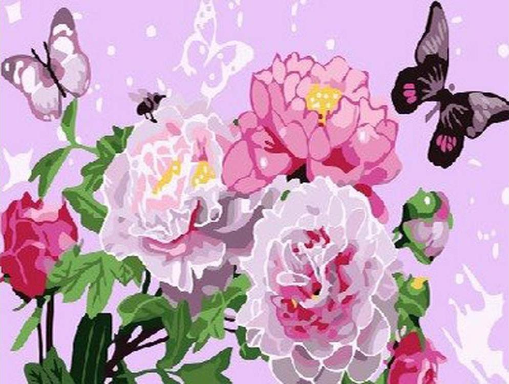 Картина по номерам «Бабочки и пионы»Paintboy (Premium)<br><br><br>Артикул: CX3314<br>Основа: Холст<br>Сложность: легкие<br>Размер: 20x30 см<br>Количество цветов: 18<br>Техника рисования: Без смешивания красок
