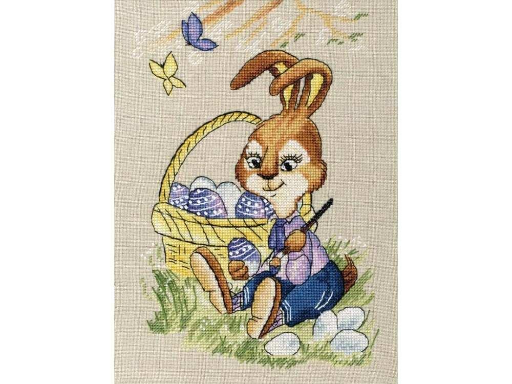 Набор для вышивания «Пасхальный кролик»Вышивка смешанной техникой Золотое Руно<br><br><br>Артикул: Д-063<br>Основа: канва Мурано №32<br>Размер: 20,7x13,8 см<br>Техника вышивки: счетный крест+бисер<br>Тип схемы вышивки: Черно-белая схема<br>Цвет канвы: Льняной<br>Количество цветов: мулине: 32, бисер: 1<br>Художник, дизайнер: Ася Динерштейн<br>Заполнение: Частичное<br>Рисунок на канве: не нанесён<br>Техника: Смешанная техника