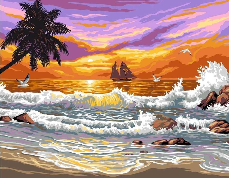 Картина по номерам «Шторм на пляже»Paintboy (Premium)<br><br><br>Артикул: EX5350<br>Основа: Холст<br>Сложность: легкие<br>Размер: 30x40 см<br>Количество цветов: 20<br>Техника рисования: Без смешивания красок
