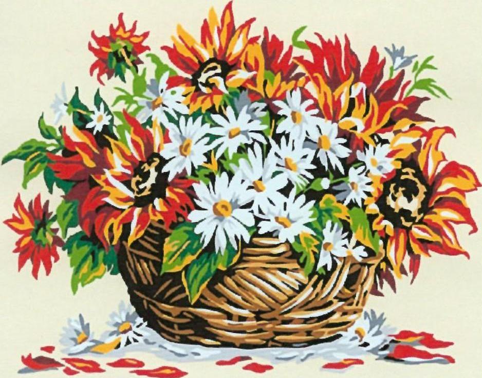 Картина по номерам «Цветы в корзинке»Раскраски по номерам<br><br>