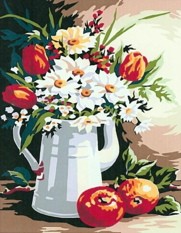Картина по номерам «Букет и яблоки»Paintboy (Premium)<br><br><br>Артикул: EX5568<br>Основа: Холст<br>Сложность: легкие<br>Размер: 30x40 см<br>Количество цветов: 15<br>Техника рисования: Без смешивания красок