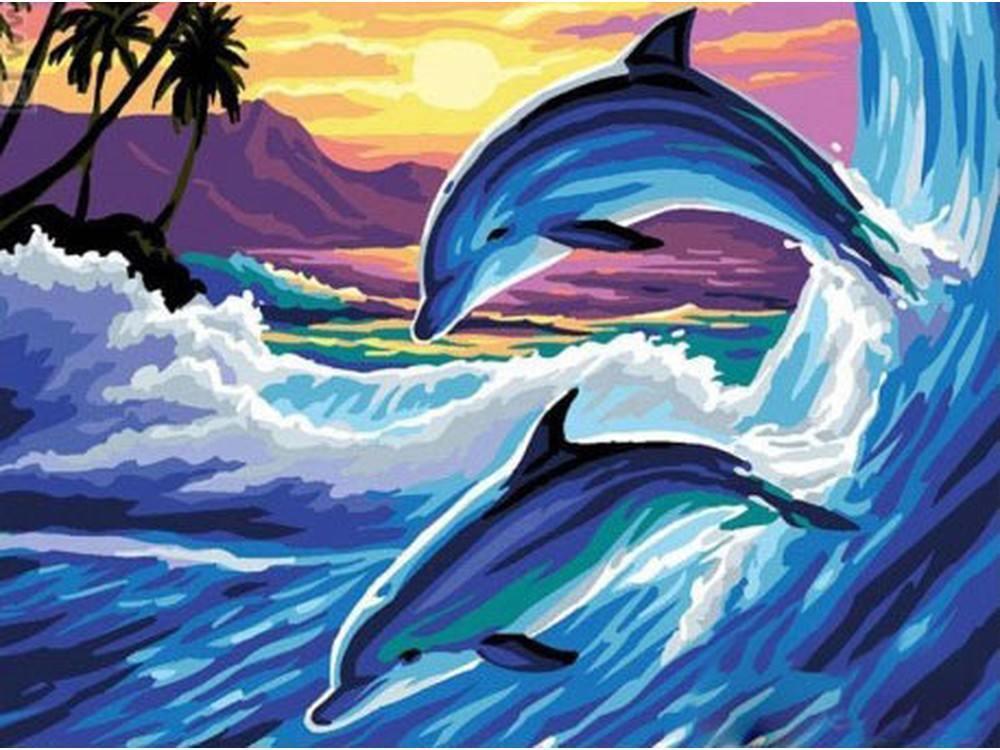 Картина по номерам «Дельфины на закате»Paintboy (Premium)<br><br><br>Артикул: EX5659<br>Основа: Холст<br>Сложность: средние<br>Размер: 30x40 см<br>Количество цветов: 21<br>Техника рисования: Без смешивания красок