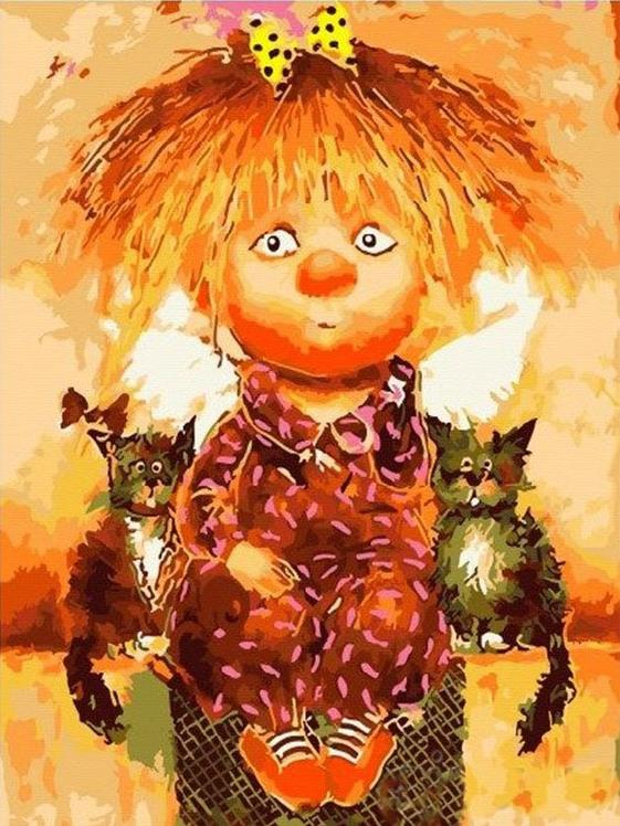 Картина по номерам «Солнечный ангел и котята» Галины ЧувиляевойPaintboy (Premium)<br><br><br>Артикул: EX5898<br>Основа: Холст<br>Сложность: легкие<br>Размер: 30x40 см<br>Количество цветов: 19<br>Техника рисования: Без смешивания красок