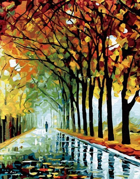 Картина по номерам «Осень в парке» Леонида АфремоваMolly<br><br><br>Артикул: G128_M<br>Основа: Холст<br>Сложность: очень сложные<br>Размер: 40x50 см<br>Количество цветов: 29<br>Техника рисования: Без смешивания красок