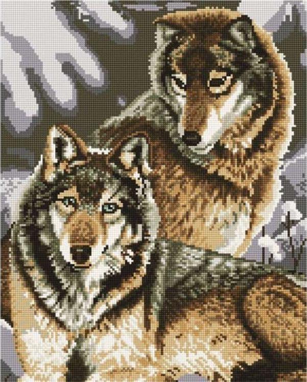 Алмазная вышивка «Пара волков»Molly<br><br><br>Артикул: GJ1203<br>Основа: Холст на подрамнике<br>Сложность: сложные<br>Размер: 40x50 см<br>Выкладка: Полная<br>Количество цветов: 20<br>Тип страз: Круглые непрозрачные (акриловые)
