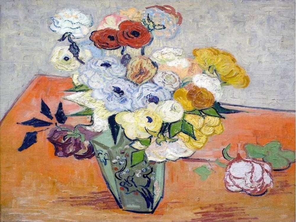Картина по номерам «Японская ваза с розами и анемонами» Ван ГогаMolly<br><br><br>Артикул: GX3785_M<br>Основа: Холст<br>Сложность: сложные<br>Размер: 40x50 см<br>Художник: Ван Гог<br>Количество цветов: 29<br>Техника рисования: Без смешивания красок