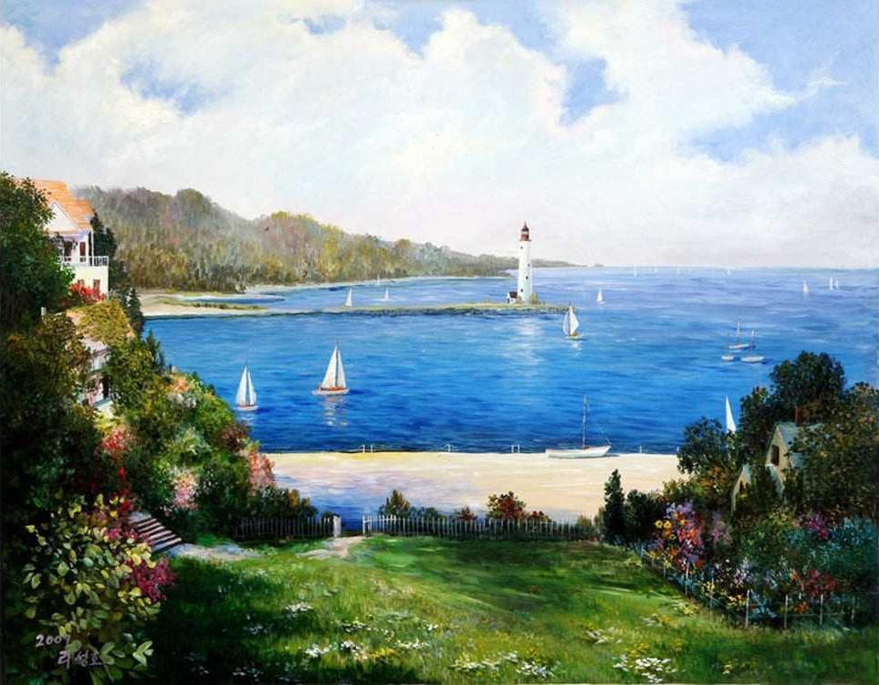 Картина по номерам «Маяк в заливе» Сунг ЛиMolly<br><br><br>Артикул: GX4577_M<br>Основа: Холст<br>Сложность: очень сложные<br>Размер: 40x50 см<br>Количество цветов: 25<br>Техника рисования: Без смешивания красок