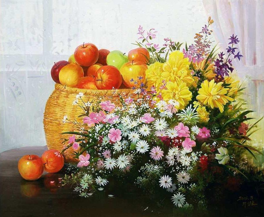 Картина по номерам «Натюрморт с яблоками» Сунг ЛиMolly<br><br><br>Артикул: GX4601_M<br>Основа: Холст<br>Сложность: очень сложные<br>Размер: 40x50 см<br>Количество цветов: 28<br>Техника рисования: Без смешивания красок