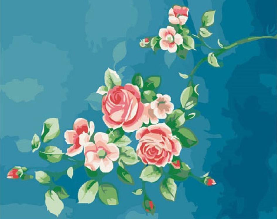 Картина по номерам «Изящные розочки»Раскраски по номерам<br><br>