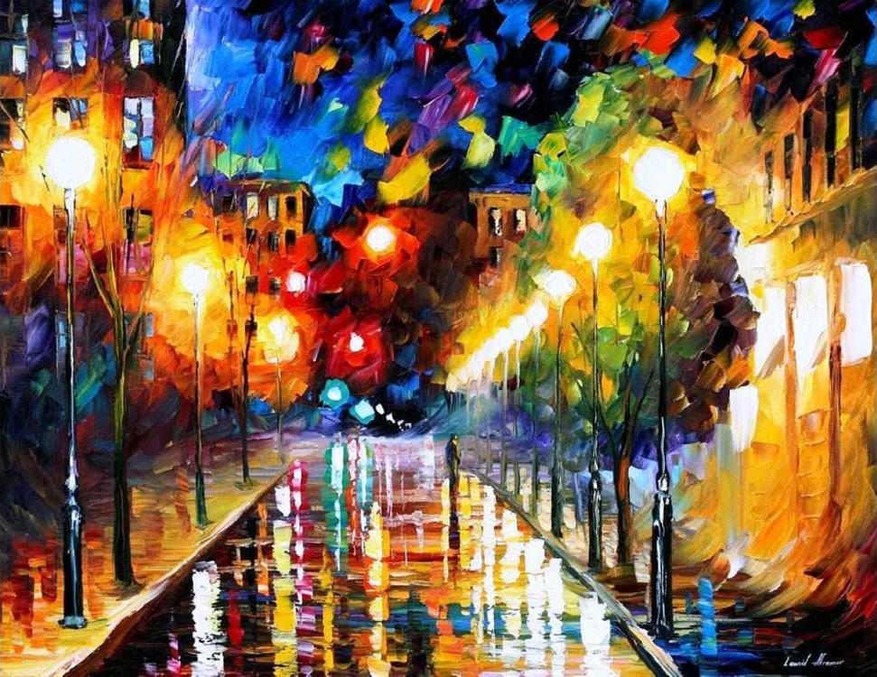 Картина по номерам «Ночной бульвар» Леонида АфремоваMolly<br><br><br>Артикул: GX9132_M<br>Основа: Холст<br>Сложность: очень сложные<br>Размер: 40x50 см<br>Количество цветов: 24<br>Техника рисования: Без смешивания красок