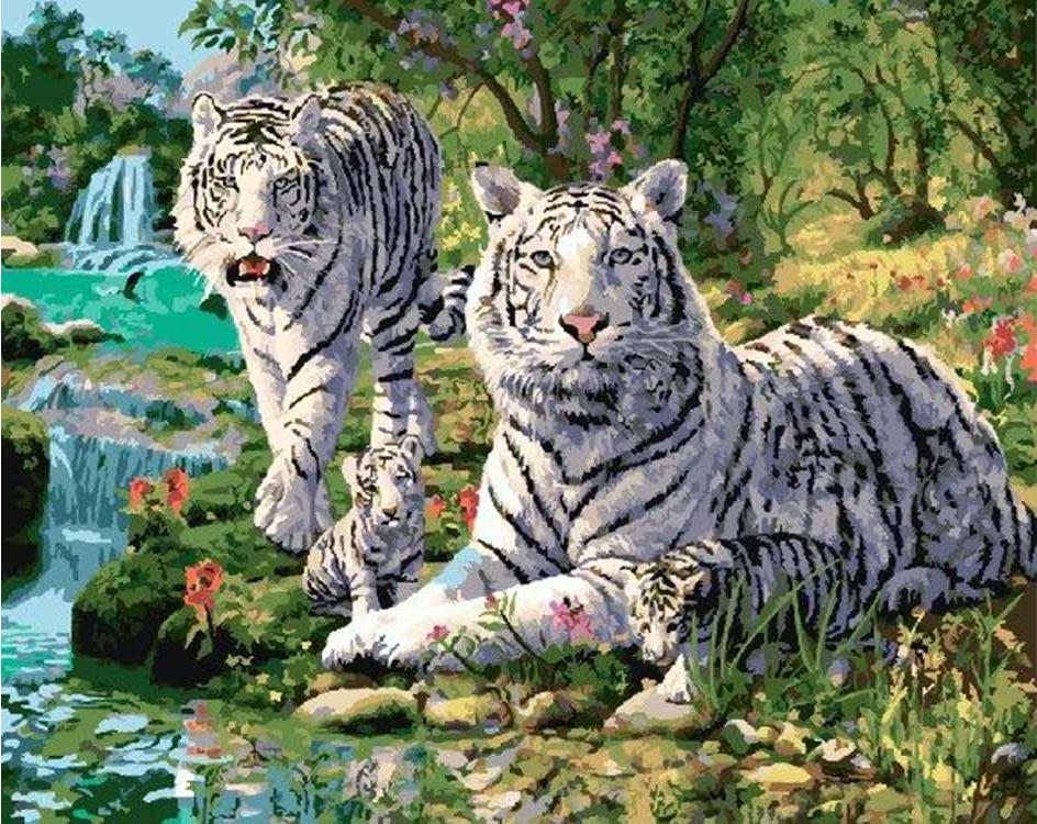 Картина по номерам «Белые тигры у водопада»Paintboy (Premium)<br><br><br>Артикул: GX9284<br>Основа: Холст<br>Сложность: сложные<br>Размер: 40x50 см<br>Количество цветов: 28<br>Техника рисования: Без смешивания красок