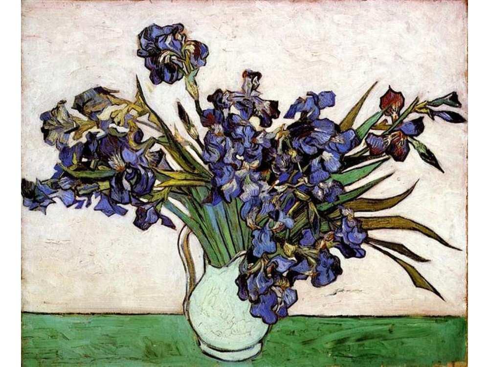Картина по номерам «Ирисы в вазе» Ван ГогаMolly<br><br><br>Артикул: GX9826_M<br>Основа: Холст<br>Сложность: очень сложные<br>Размер: 40x50 см<br>Количество цветов: 17<br>Техника рисования: Без смешивания красок
