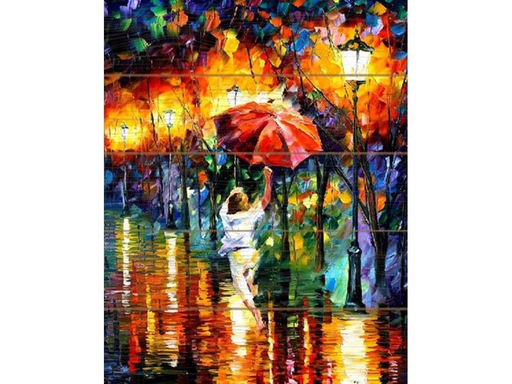 Картина по номерам по дереву Molly «Танцующая под дождем» Леонида АфремоваКартины по номерам по дереву<br><br>