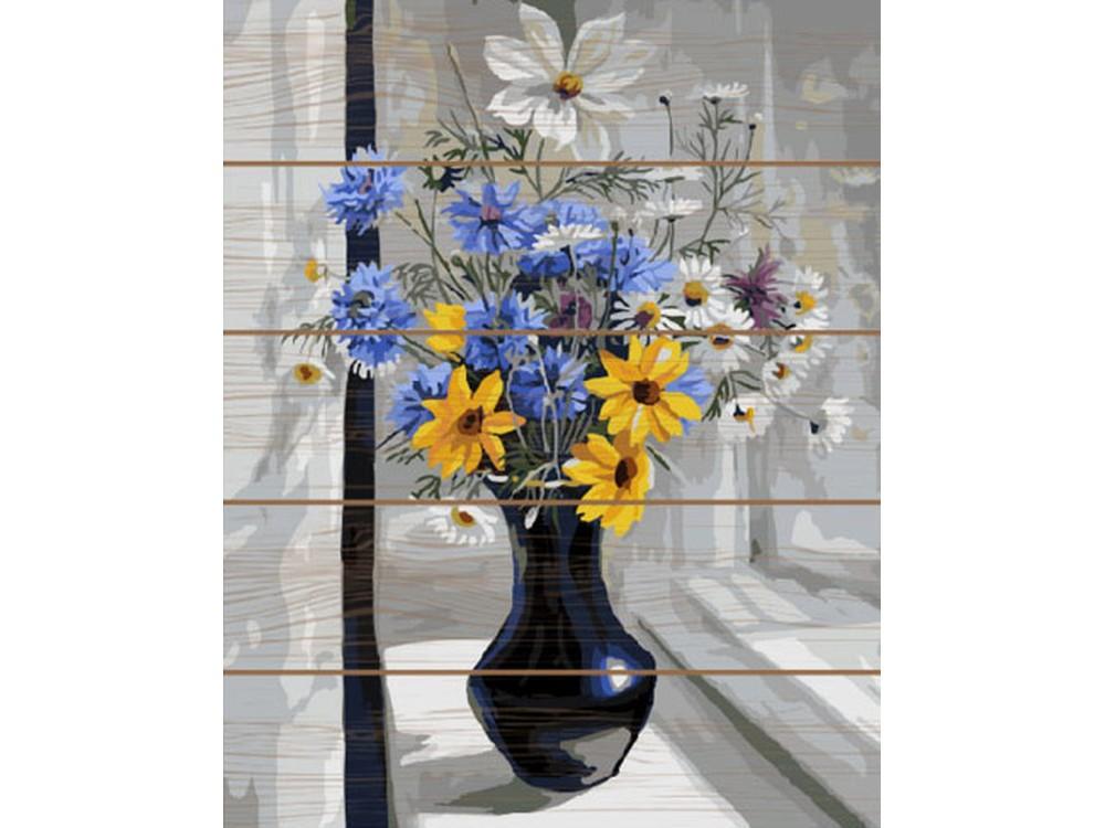 Купить Картина по номерам по дереву Paintboy «Букет с васильками», Paintboy (Premium)