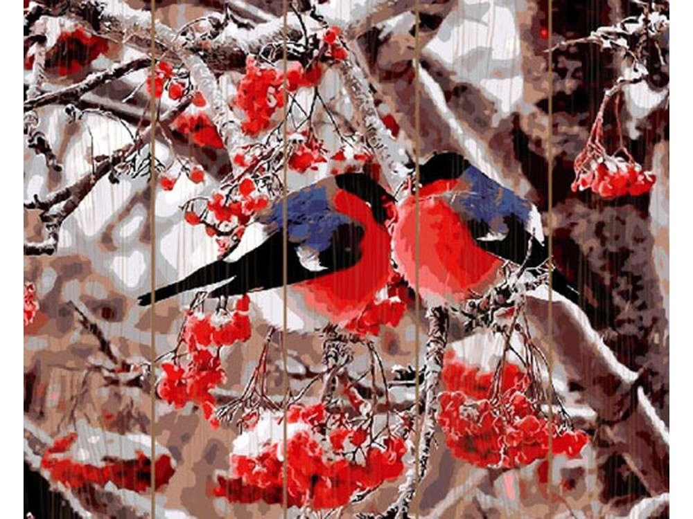 Картина по номерам по дереву Molly «Снегири»Картины по номерам по дереву<br><br>