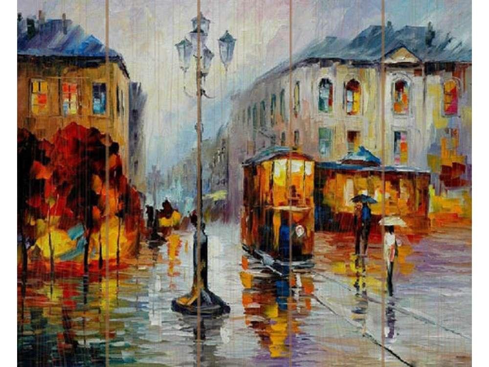 Картина по номерам по дереву Molly «Городской трамвай» Леонида Афремова