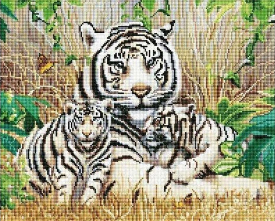 Алмазная вышивка тигры полная выкладка 64