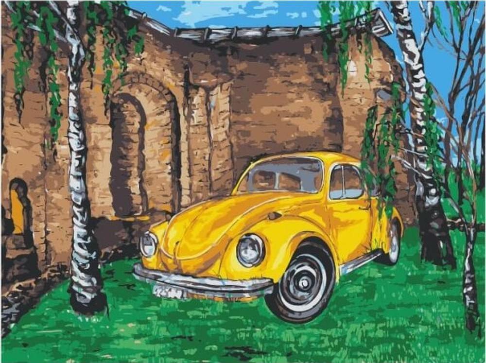 Картина по номерам «Желтое авто среди берез»Цветной (Premium)<br><br><br>Артикул: ME1056_Z<br>Основа: Холст<br>Сложность: средние<br>Размер: 30x40 см<br>Количество цветов: 18<br>Техника рисования: Без смешивания красок