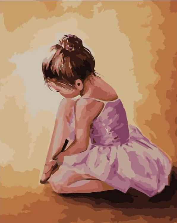 Картина по номерам «Балерина-малышка» Ольги ЛегейдыЦветной (Premium)<br><br><br>Артикул: MG2055_Z<br>Основа: Холст<br>Сложность: сложные<br>Размер: 40x50 см<br>Количество цветов: 24<br>Техника рисования: Без смешивания красок