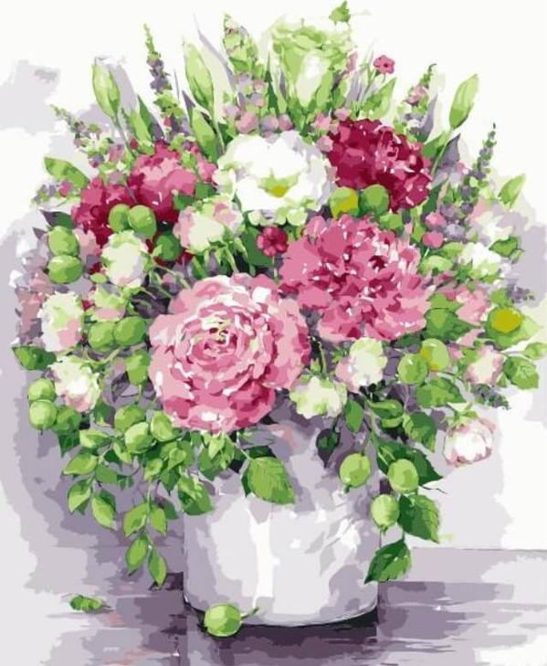Картина по номерам «Яркие пионы с зелеными плодами в белой вазе» Елены ВавилинойЦветной (Premium)<br><br><br>Артикул: MG2060_Z<br>Основа: Холст<br>Сложность: сложные<br>Размер: 40x50 см<br>Количество цветов: 24<br>Техника рисования: Без смешивания красок