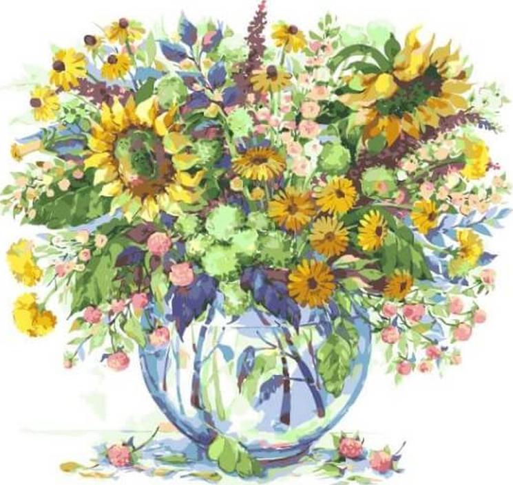 Картина по номерам «Подсолнухи в вазе» Елены ВавилинойРаскраски по номерам<br><br>