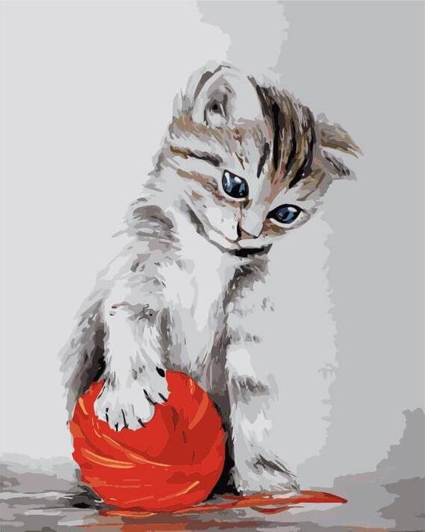 Картина по номерам «Котенок с красным клубком»Раскраски по номерам<br><br>