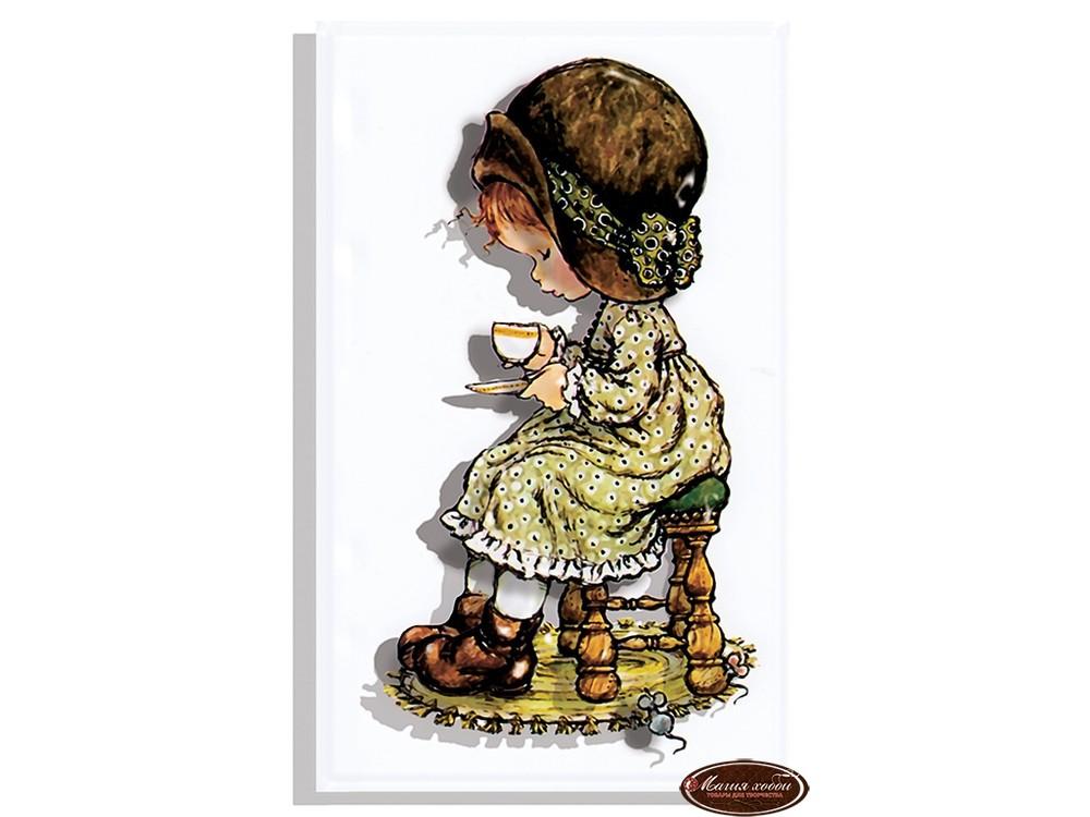 """Папертоль «Девочка с чашкой»Папертоли (papertole)<br>Техника папертоль - объемное 3D-изображение из бумаги, созданное собственноручно. Простая в исполнении, но очень необычная техника. Набор содержит:<br> - разобранное """"по слоям"""" изображение картины, выполненное на качественной плотной бумаге;<br> - инструкцию ...<br>"""