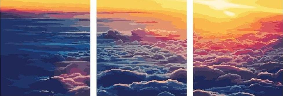 Картина по номерам «Безграничное небо»Paintboy (Premium)<br><br><br>Артикул: PX5100<br>Основа: Холст<br>Сложность: средние<br>Размер: 3 шт. 40x50 см<br>Количество цветов: 30<br>Техника рисования: Без смешивания красок