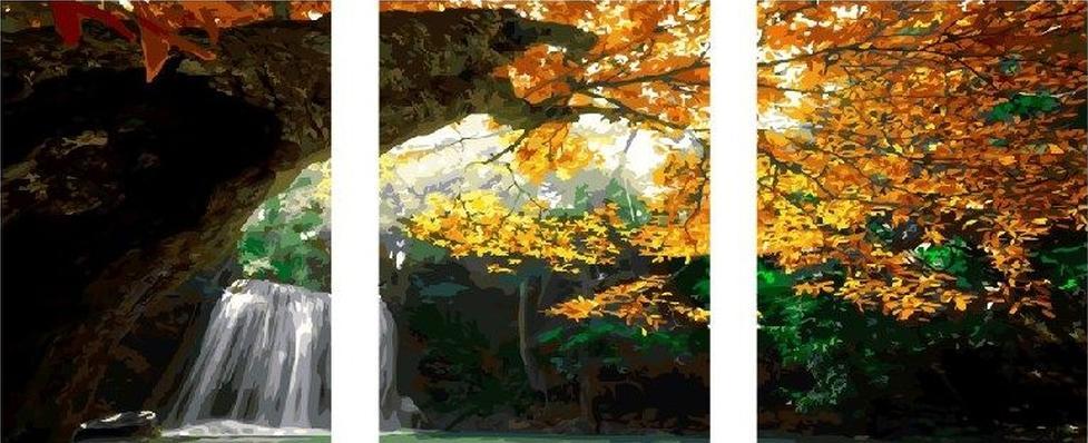 Картина по номерам «Осенний водопад»Paintboy (Premium)<br><br><br>Артикул: PX5164<br>Основа: Холст<br>Сложность: очень сложные<br>Размер: 3 шт. 40x50 см<br>Количество цветов: 40<br>Техника рисования: Без смешивания красок