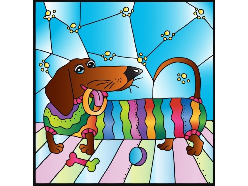 Витраж-раскраска «Радужная такса»Color KIT<br>Витраж-раскраска – новый вид раскрасок для взрослых. В комплектации набора предусмотрено все, что может понадобиться при создании уникального произведения искусства.<br> Основа этой раскраски – стекло, обрамленное в багетную раму. Расписывать витраж достато...<br><br>Артикул: HL001<br>Основа: стекло в багетной раме<br>Размер: 33x33 см<br>Вес: 1200 г<br>Количество цветов: 8