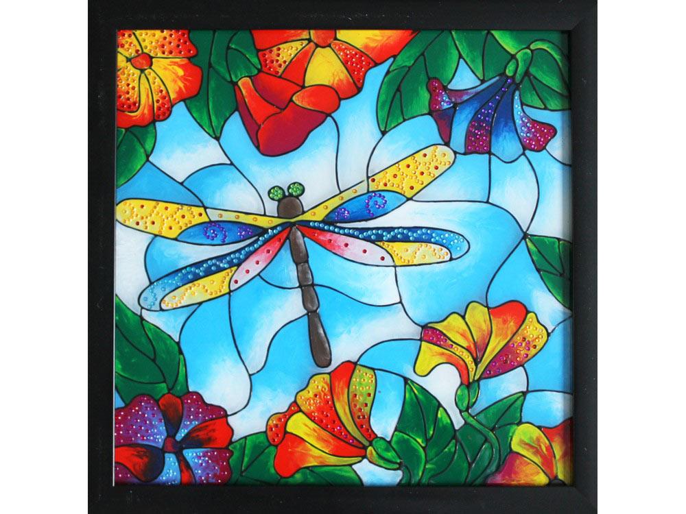 Витраж-раскраска «Стрекоза»Color KIT<br>Витраж-раскраска – новый вид раскрасок для взрослых. В комплектации набора предусмотрено все, что может понадобиться при создании уникального произведения искусства.<br> Основа этой раскраски – стекло, обрамленное в багетную раму. Расписывать витраж достато...<br><br>Артикул: HL014<br>Основа: стекло в багетной раме<br>Размер: 33x33 см<br>Вес: 1200 г<br>Количество цветов: 8