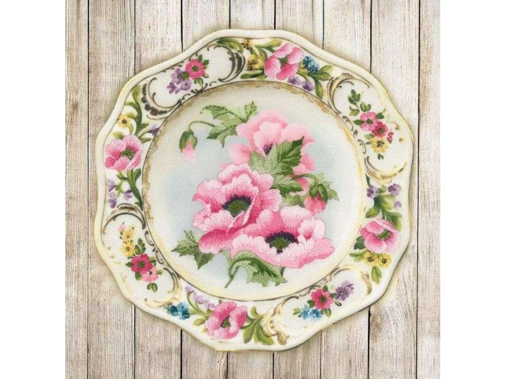 Купить Вышивка гладью, Набор для вышивания «Тарелка с розовыми маками», Риолис (Сотвори Сама), 21x21 см, 0075 РТ