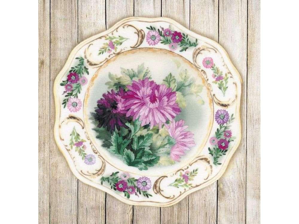 Купить Вышивка гладью, Набор для вышивания «Тарелка с хризантемами», Риолис (Сотвори Сама), 21x21 см, 0076 РТ