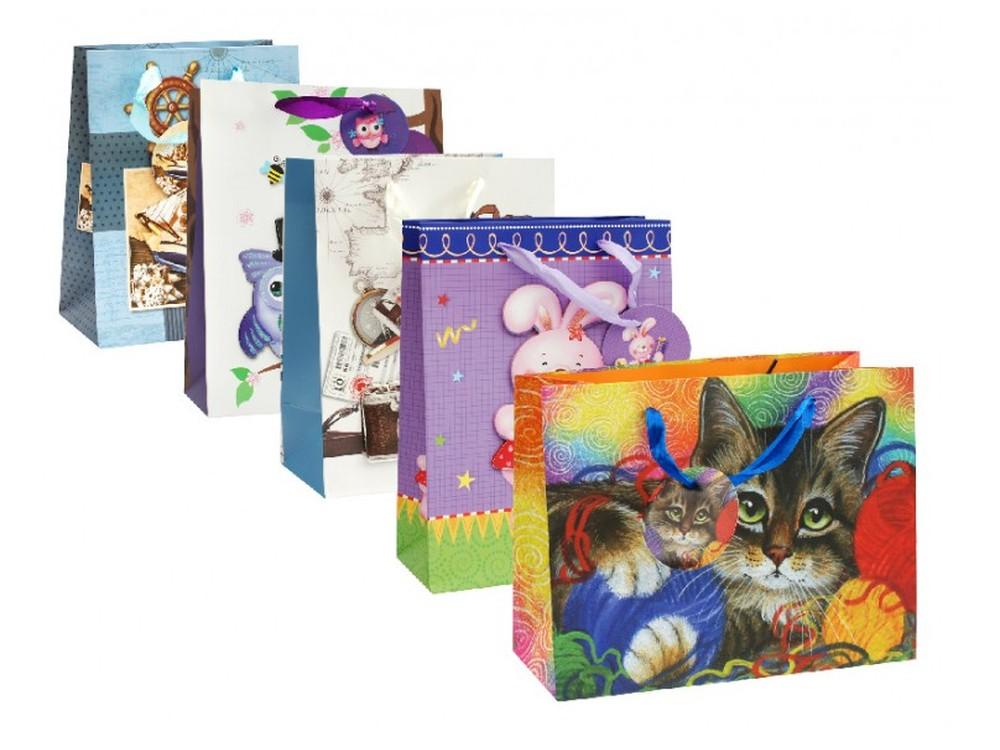 Набор подарочных пакетов «Бери-Дари», 5 шт.Подарочные пакеты<br>Оригинальные подарочные пакеты станут прекрасным дополнением для вашего подарка. Пакеты выполнены из качественной плотной бумаги с хорошей печатью, объемные элементы на пакете придают дополнительный яркий акцент.<br>