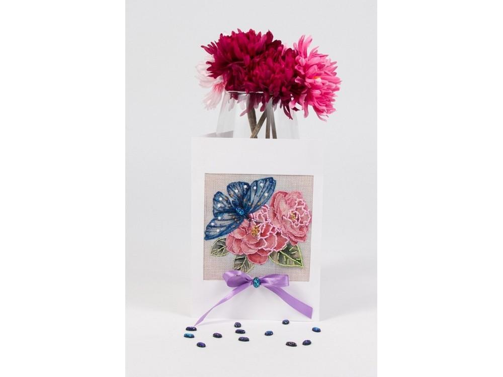 Купить Смешанная техника, Набор для вышивания «Шиповник любви» (открытка), Матренин Посад, 12x17 см, 8305