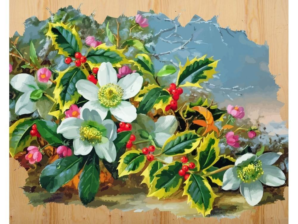 Купить Картина по номерам по дереву Color KIT «Морозный букет», 40x50 см, DER006