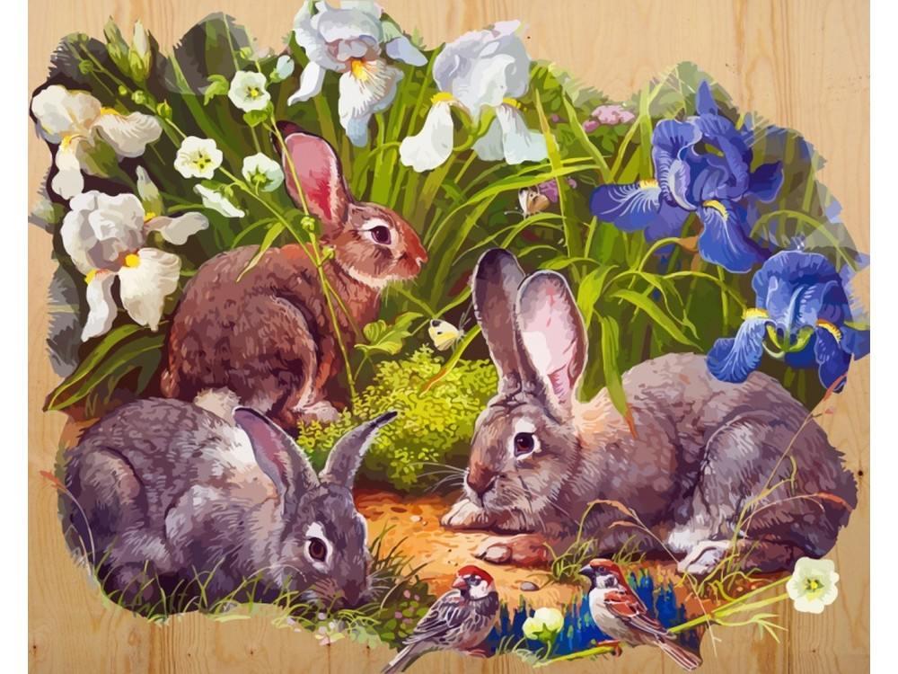 Картина по номерам по дереву Color KIT «Кролики и воробышек» Яны МовчанКартины по номерам по дереву<br><br>