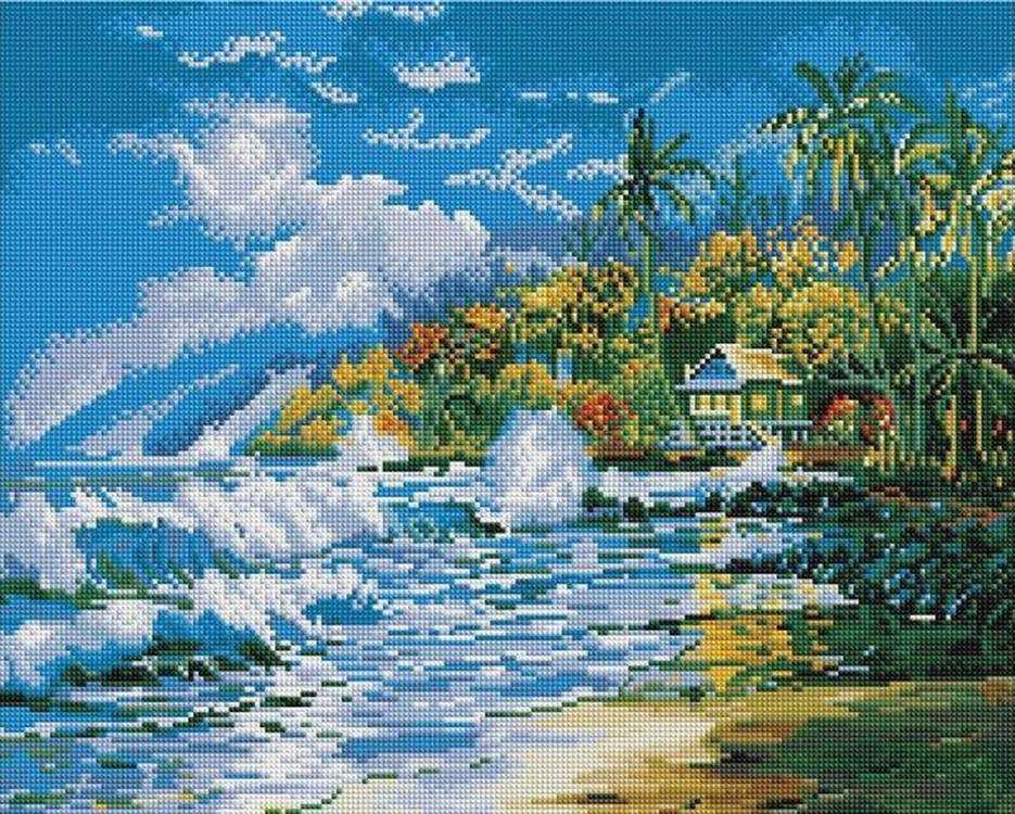 Алмазная вышивка «Море и пальмы»Алмазная вышивка Painting Diamond<br><br>