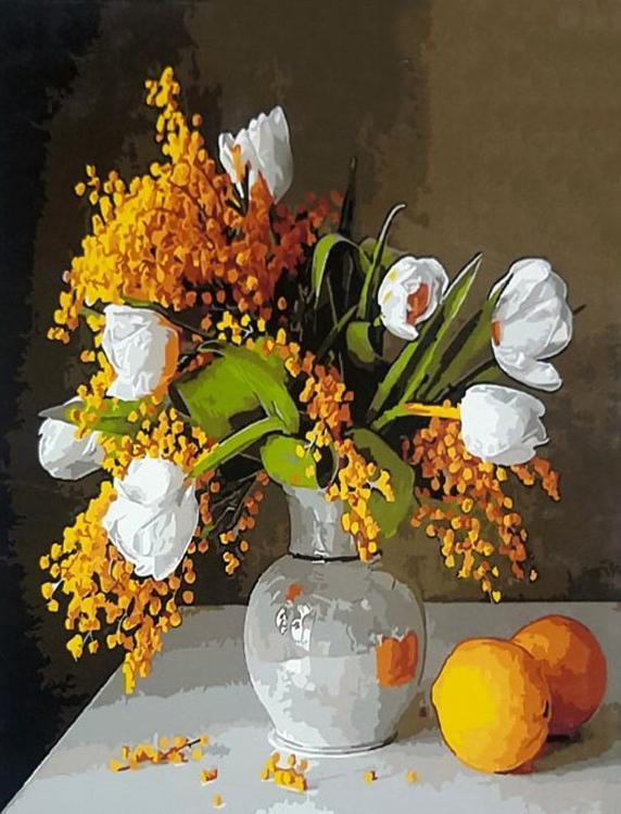 Картина по номерам «Белые тюльпаны»Paintboy (Premium)<br><br><br>Артикул: GX21003<br>Основа: Холст<br>Сложность: средние<br>Размер: 40x50 см<br>Количество цветов: 26<br>Техника рисования: Без смешивания красок