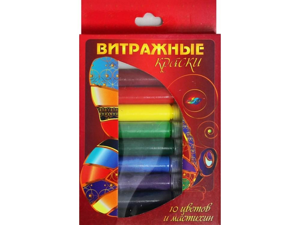 Краски витражные, набор 10 цветовАксессуары для рисования картин по номерам<br>Витражные краски предназначены для рисования по стеклу. Это акриловые краски на водной основе, несколько отличающиеся от привычных — при высыхании они становятся полупрозрачными. Форма тюбика удобна для работы - краски выдавливаются прямо на поверхность и...<br><br>Артикул: KK003