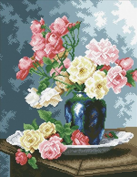 Алмазная вышивка «Ваза с садовыми розами»Алмазная вышивка Паутинка<br><br><br>Артикул: М-253<br>Основа: Холст без подрамника<br>Сложность: сложные<br>Размер: 35x45 см<br>Выкладка: Полная<br>Количество цветов: 32<br>Тип страз: Квадратные