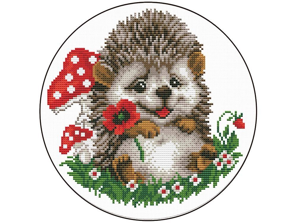 Купить Вышивка крестом, Набор для вышивания «Ежик с цветком», Цветной, 21x21 см, VC017