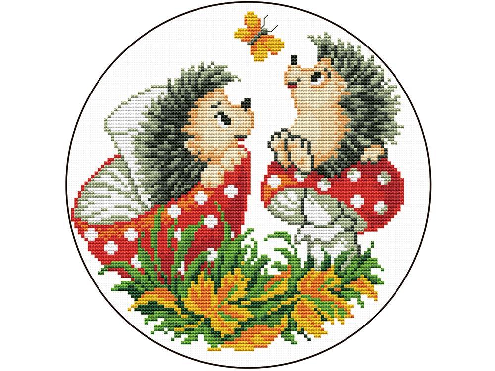 Набор для вышивания «Ежи с грибами»Вышивка крестом<br><br>