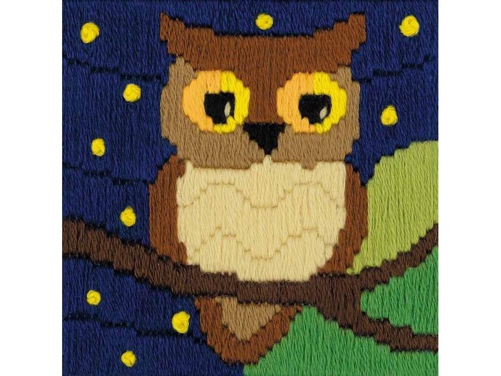 Купить Вышивка длинным вертикальным стежком, Набор для вышивания «Сова среди звезд» (длинный вертикальный стежок), Риолис (Сотвори Сама), 10x10 см, 1715