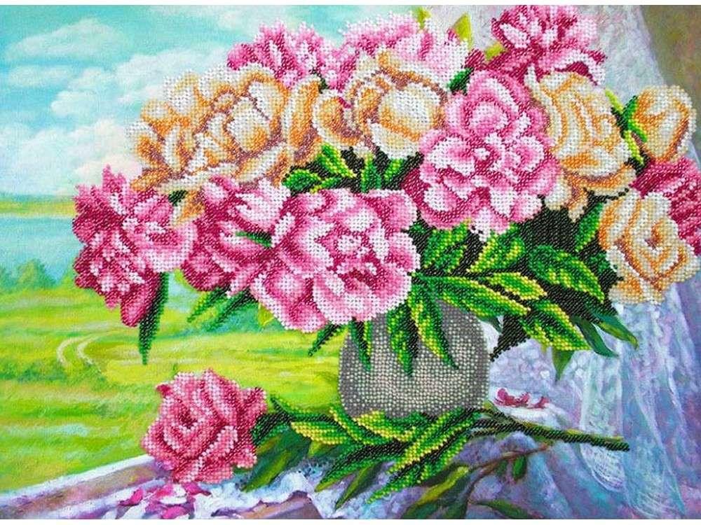 Набор вышивки бисером «Розовые пионы»